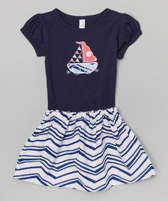 Look at this Waistin' Away Navy Waves Monogram Tee & Skirt - Infant, Toddler & Girls on #zulily today!