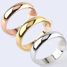 Men-039-s-amp-Women-039-s-4-5mm-Width-Band-Ring-Plain-Engagement-Wedding-Titanium-Steel