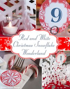 Red and While Snowflakes - Christmas table decor by Press Print Party