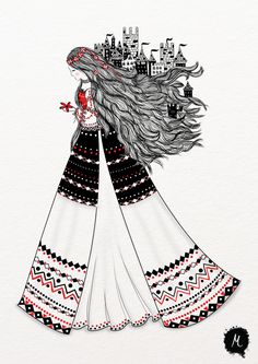 Since starting to love the Romanian craft art and embroidering traditional Romanian blouses myself, I started searching for inspirational works that portrayed a similar love. Russian Folk Art, Ukrainian Art, Princess Illustration, Illustration Art, Romanian Girls, Mother Art, Islamic Art Calligraphy, Classical Art, Disney Art