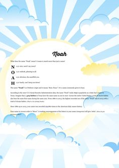 The #namemeaning of #Noah using Cloudy Blue Sky from the project pack Nature. Unique #giftideas and #personalizedgifts for #babynames