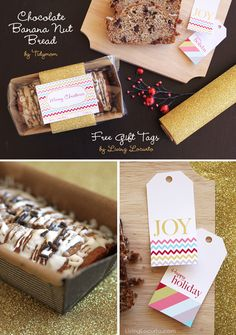 DIY Christmas Gift Idea - Chocolate Banana Nut Bread by Tidymom and Free Printable Tags by Living Locurto. LivingLocurto.com
