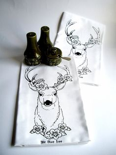 Stag Dish Towel  Set of 2 by TheOliveTreeAtelier on Etsy, £10.00