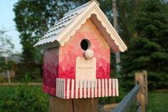 breast cancer awareness themed bird house - awesome!