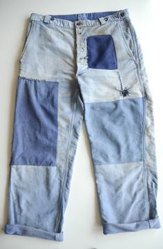 Vintage 1940s French Workwear Work Chore Darned Patched Moleskin Trousers Pants | eBay