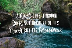 17. A river cuts through rock not because of its power but its persistence.