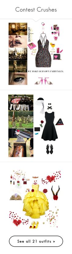 """""""Contest Crushes"""" by blackmagicmomma ❤ liked on Polyvore featuring Allurez, Gucci, Love Moschino, Betsey Johnson, TIKI, Yves Saint Laurent, Urban Decay, MAC Cosmetics, Juicy Couture and Marc Jacobs"""