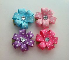 Baby Girl Hair Clips Flower Hair Clips Pink Purple by Baby Girl Hair Clips, Baby Girl Bows, Girl Hair Bows, Girls Bows, Ribbon Barrettes, Hairbows, Ribbon Bows, Ribbon Flower, Ribbons