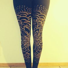 Could make something like these with bleach pens or paint - Custom Leggings Sacred Geometry by EtherealApparel on Etsy