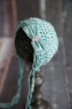 The Kate Bonnet, Aqua Crochet Baby Bonnet with Sari Silk Ties, Photo Prop, Baby Gift on Etsy, $358.62