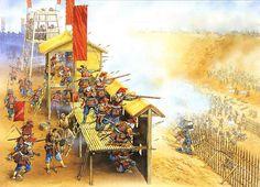 Samurai and ashigaru defending a fort