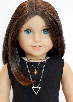 American Girl doll double necklace  tigers eye by EverydayDollwear