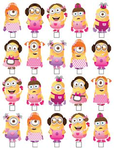 20 x MINIONS GIRL DESPICABLE ME STAND UP EDIBLE WAFER CARD TOPPER CUPCAKES CAKES