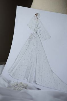 Dior exclusive: An inside look at Miranda Kerr's haute couture wedding dress Wedding Dress Sketches, Wedding Dresses Photos, Wedding Dress Styles, Miranda Kerr, Winnie Harlow, Dior Haute Couture, Christian Wedding Dress, Christian Dior, Couture Wedding Gowns