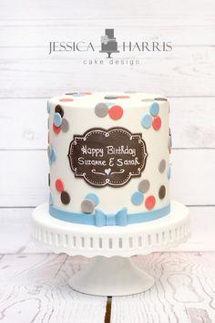 Polka Dot Chalkboard Cake - great way to finish off a barrel cake.