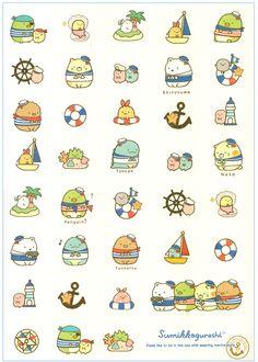 San-x Sumikko Gurashi Sail Party Notebook Kawaii Doodles, Cute Kawaii Drawings, Kawaii Art, Printable Scrapbook Paper, Printable Stickers, Kawaii Stickers, Cute Stickers, Doodle Drawings, Doodle Art