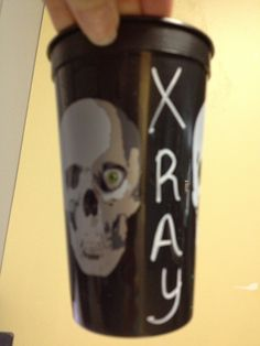 We found skull cups around Halloween and personalized it with x-ray written on it. We then stuffed them full of little goodies and handed them out to everyone in our Radiology Department for NRTW. This is an original pic from Elaine Sauerwein.