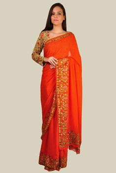Kashmir Inspired Orange Floral And Paisley Aari Embroidered Saree