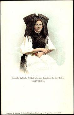 Ansichtskarte / Postkarte Legelshorst Willstätt, Lebende Badische Volkstracht, Hanauerin