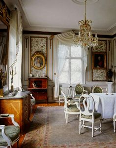 Säbylund in Sweden was built in the 1780's.. In this room, a Fredrik the 1th Commode ; other furniture are Gustavian, the portraits are signed Gustaf Lundberg.