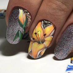 Nail Ink, Gel Nail Art, Spring Nails, Summer Nails, Acrylic Nail Designs, Nail Art Designs, Matte Nails, Acrylic Nails, Floral Nail Art