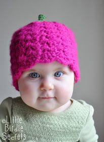 Little Birdie Secrets: raspberry or strawberry free crochet pattern {and a crochet hat head size chart}