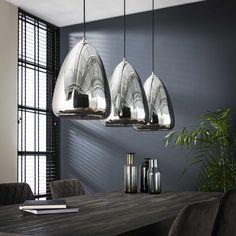 Loftlampe med tre forkromede galsskærme