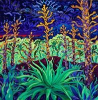 """: Cosmic Agave, 30"""" x 30"""", Oil by Cathy Carey ©2014"""