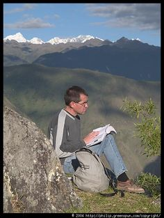 Do you read books outdoors? www.digiwriting.com  Reading in the mountains