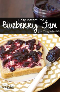 Easy Instant Pot Blueberry Jam {just 2 ingredients!} | TraditionalCookingSchool.com