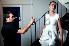 the haute couture line, made entirely out of spray-on fabric, is a culmination of 10 years of research and work by spanish fashion designer and academic manel torres.