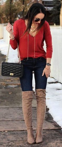 #winter #fashion /  Red Knit / Navy Skinny Jeans / Brown OTK Boots
