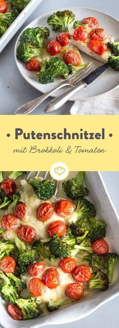 Low carb turkey schnitzel with broccoli and cherry tomatoes- Low-Carb-Putenschnitzel mit Brokkoli und Kirschtomaten Turkey escalope melds with sweet cherry tomatoes and crunchy broccoli to form a light, summery dish. Quickly made and delicious! Healthy Dessert Recipes, Clean Eating Recipes, Low Carb Recipes, Healthy Eating, Snacks Recipes, Healthy Drinks, Salad Recipes, Vegetarian Recipes, Dinner Recipes