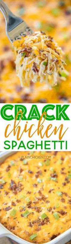 Crack Chicken Spaghetti - chicken spaghetti loaded with cheddar, bacon and ranch. This stuff is totally ADDICTIVE! We make this at least once a month. Everyone cleans their plate, even our picky eaters! Chicken, cream of chicken soup, velveeta, ranch dressing mix, bacon, cheddar cheese, spaghetti. Can make ahead of time and refrigerate or freeze for later. A real crowd pleaser! Chicken Spaghetti Casserole, Spaghetti Squash With Chicken, Healthy Chicken Spaghetti, Chicken Spaghetti Velveeta, Freeze Spaghetti Squash, Chicken Spaghetti Recipe Crockpot, Crockpot Cream Of Chicken, Recipes With Spaghetti Noodles, Chicken Bacon Ranch Casserole