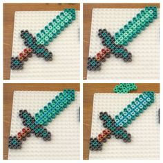 Minecraft diamond swords perler beads by thebeadspriteking