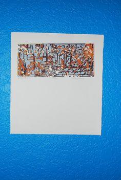 Medium print silk screen print fall colors abstract art by chumaka, $60.00