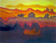 Orange Sunset Over Horizon: Writer mulling around....