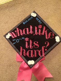 Elle Woods inspired graduation cap Nursing Graduation Pictures, Custom Graduation Caps, Graduation 2016, Graduation Cap Designs, Graduation Cap Decoration, Grad Cap, Elle Woods, Cap Decorations, Art Education