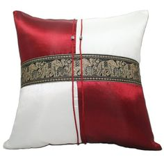 """Phumpanya Red & Ivory Checker Square 16""""x16"""" Couch Bed Decorative Silk Throw Pillow Case Thai Elephants"""