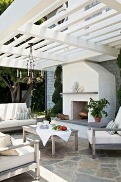 Charmant Garden Patio And Living Area   Pergola, Field Stone Floor, Outdoor Fireplace
