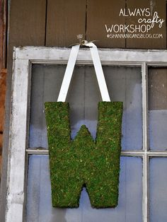 Moss Monogram Wreath  --  One of the benefits of having such a symmetrical first letter last name.