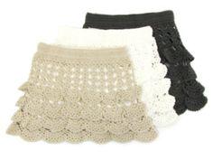 modelos de saias curtas de crochê com babados