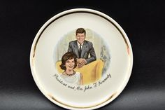 "President and Mrs. John F. Kennedy Commemorative Plate Vintage 9"" United States"