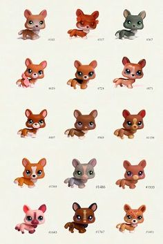All Littlest Pet Shop corgis and their numbers.