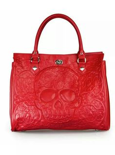 1e0a20ea40b Loungefly Red on Red Lattice Skull Day of the Dead Tote Purse in Clothing,  Shoes   Accessories