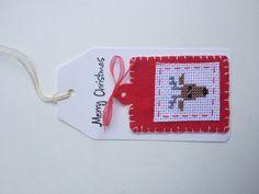 Kerst-tag met vilt en cross-stitching made by me