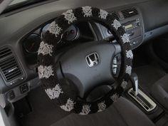 Crochet Steering Wheel Cover, Wheel Cozy - black/grey heather (CSWC 8Y) by ytang on Etsy