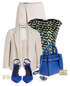 """Office outfit: Creme - Royal Blue"" by downtownblues ❤ liked on Polyvore"