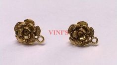 SH2 Antique Gold stud base with loop Stud size 12mm, With Rubber stopper Rs- 20/pair