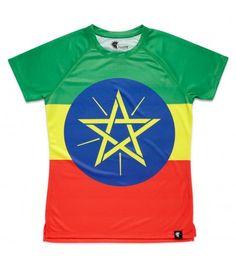 Camiseta running mujer Adisabeba bandera Etiopía Hoopoe Running Apparel